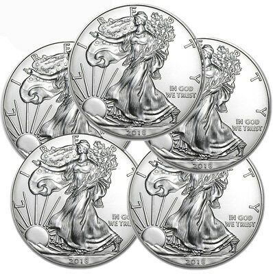 2018 american Silver eagle lot of 5 bu coins