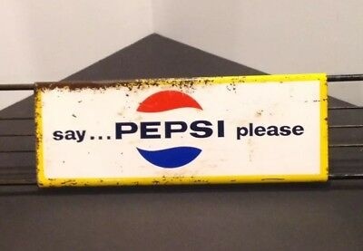 "• 1966 Pepsi Cola Door Push ""Say Pepsi Please"" M-168 Stout Sign Co. St. Louis •"
