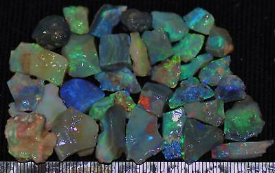 100 Cts Solid Gem Quality Lightning Ridge Rough And Rough Rubbed Opal Parcel 71