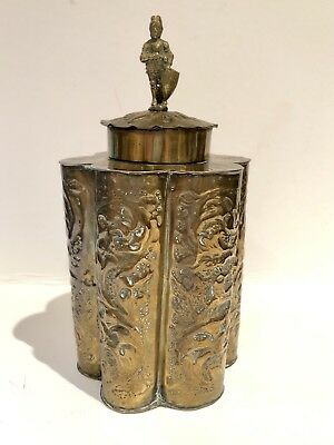 Antique Ornate Brass Tea Caddy, Figural, Embossed, Marked