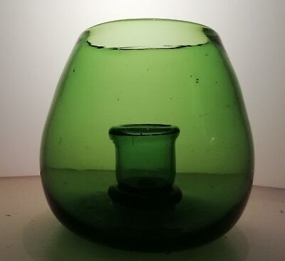 19th Century green glass candle holder.