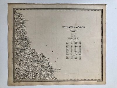 Vintage Original 1845 Topographic Map Of 'England & Wales'Robin Hoods Bay, Filey
