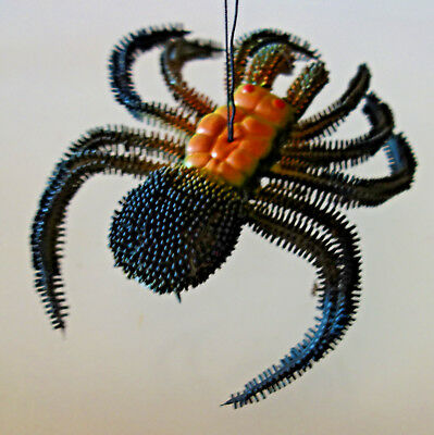 """large Halloween 6"""" rubber plastic squeeky hanging spider"""