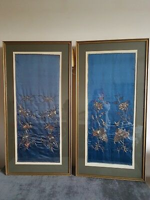 A Pair Of Japanese Vintage Metalic Thread On Silk Embroidered Wall Hangings
