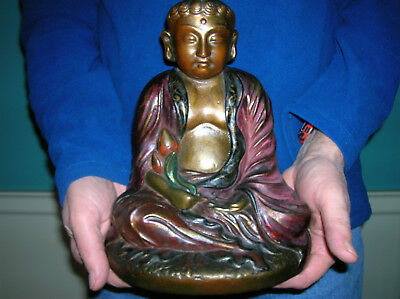 Antique Buddha lotus blossom statue bookend Armor Bronze clad, orig paint, huge