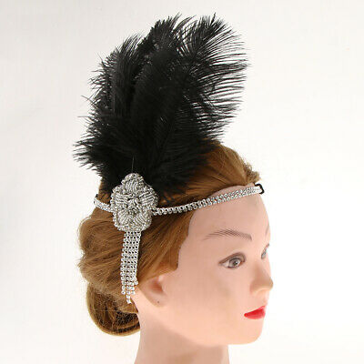 Vintage 20s Feather Flapper Headband Great  Headdress Party Fascinator