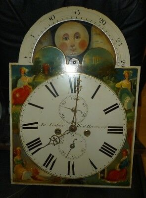 Antique 8 Day Longcase Moonphase Movement And Dial 20ins By 14ins