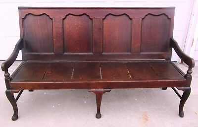 Rare Fine Queen Anne Panel Back Settle Bench English 17Th / Early 18Th Century