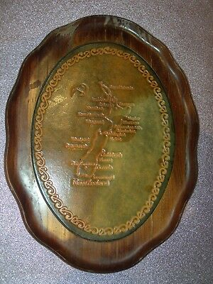 leather moulders tauranga new zealand map wooden tray plate souvenir vintage old