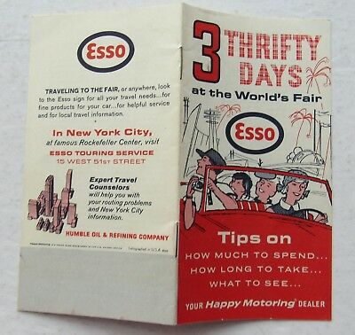 Esso Oil  1964 World's  Fair  3 THrifty Days At The World's Fair Booklet