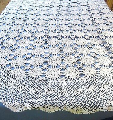 "Vintage White Cotton Crochet Lace Tablecloth 64"" Round Floral Medallion"