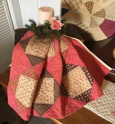 Antique Vintage Old 1800's Early Prints Square In Square Cinnamon Quilt Piece #6