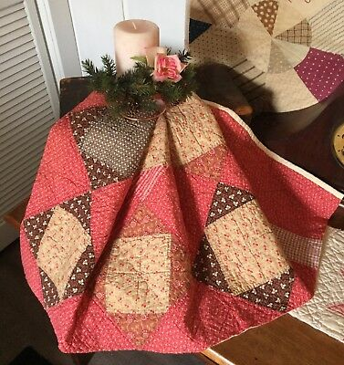 Antique Vintage Old 1800's Early Prints Square In Square Cinnamon Quilt Piece #5