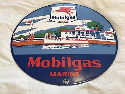 Vintage Mobilgas Porcelain Sign, Pump, Mobil Gas Station, Mobil Marine, Gas, Oil