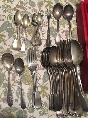 SILVERPLATE FLATWARE, 37 Piece, SCRAP, Mixed Lot.