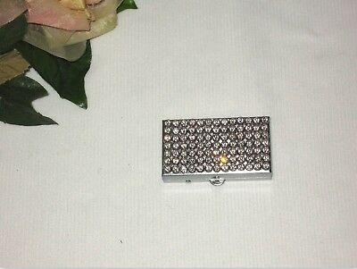 Rhinestones Loaded Silver-Tone Rectangle 2 Compartments Trinket Pill Box Bling!