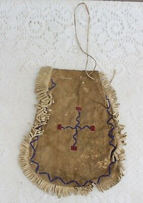 Antique Native American Indian Beaded Buckskin Medicine Pouch