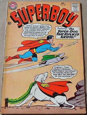 SUPERBOY #109 (DC, 1963) Krypto and Swifty appearances. SILVER AGE!