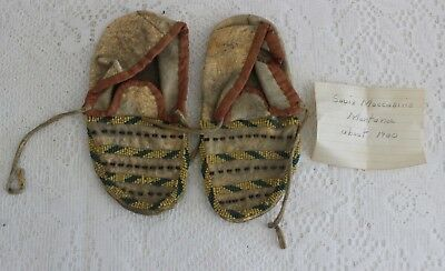 Antique Sioux Native American Indian Beaded Buckskin Moccasins ~ Montana