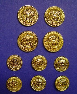 Set of 10 New MEDUSA METAL BUTTONS SET Gold Tone Metal  Shiny New Unused Buttons