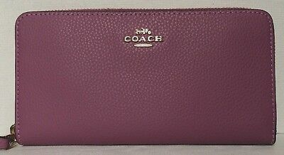 New Coach 16612 Accordion Zip Pebbled Leather wallet PrimRose