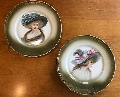 """Antique """"Victorian Lady"""" Pair of Decorative Plates with 22k gold details"""