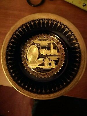 Porcelain plate, gold gilded  Mint Condition