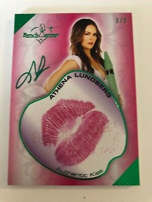 2018 Benchwarmer Card Hot4 Teacher Kiss Autograph Athena Lundberg 3/3 Green