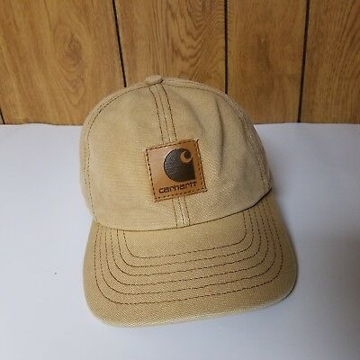Vintage Carhartt tan Snapback Leather Patch Made in USA Brown Cap Hat Work  Logo b69bdd87ed3