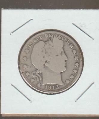 1913 D Barber or Liberty Head Half Dollar, 90% Silver   VG+