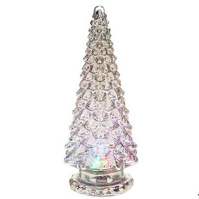 "Valerie Parr Hill Kaleidoscope Lighted 16"" Glass Christmas Tree NIB (Silver)"