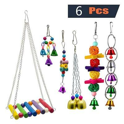 6Pcs Pet Bird Cockatiel Parrot Cage Swing Hanging Bell Chew Bridge Toy Hammock