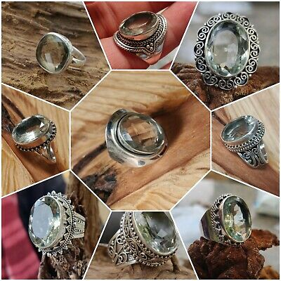 Green Amethyst 925 Solid Sterling Silver Handmade Jewelry Set Valentine Gift