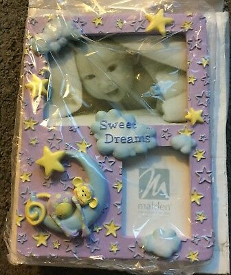 Malden 4x6 Baby Girl picture frame NEW! purple Moon And Stars photoFrame ⭐️