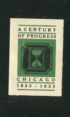 Poster Stamp Label CENTURY OF PROGRESS 1833-1933 Chicago green Worlds Fair