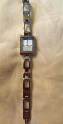 Fossil Two Tone Watch Silver Gold Square Dial Vintage Needs Battery