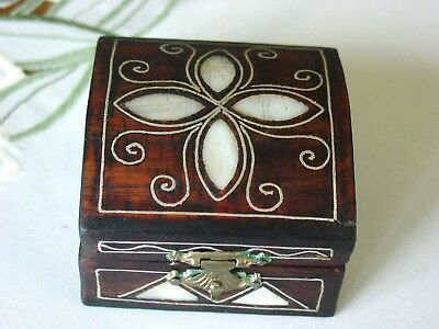Persian * Vtg  Antique Hand Crafted Mother Of Pearl Nlaid 1960 Jewelry Box