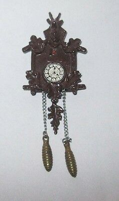 Dollhouse Miniatures NEW Black Forest Germany Style Cuckoo Clock Pewter Wall