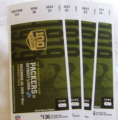 PACKERS vs DETROIT LIONS~4 TICKETS~CHRISTMAS GIFT FOR PACKER FAN