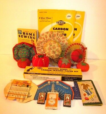Lot of 7 Assorted Vintage Pin Cushions Tomato Shaped Hats Pins Needles
