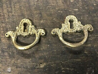 Antique Pair Cast Brass Furniture Key Hole Escutcheon Plate Parts