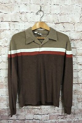 Vintage Terry Cloth Alfie Brown Shirt Size Large 70's Men's Long Sleeve Polo