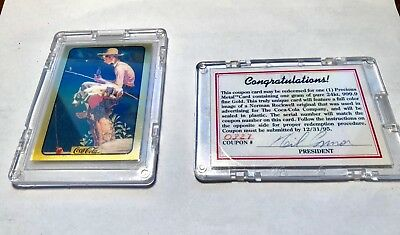 1996 Coca Cola Series 3 Norman Rockwell Gold 24k Card + redemption