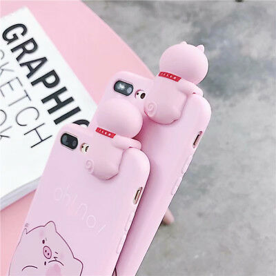 Soft Cute Pink Pig  Silicone Phone Case Cover For iPhone X XS Max XR 6 7 8 Plus