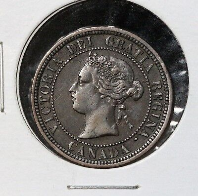 1881-H 1C Canada Large Cent Vf Micro D Variety Rare Find!! Must See!!!