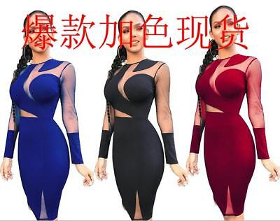 Women's Sexy Mesh Patchwork Perspective Bodycon Cocktail  Party Club Mini Dress
