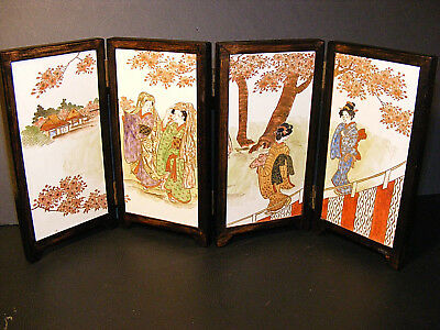 Vintage Japanese Table Screen Hand Painted Porcelain, 4 Geisha's