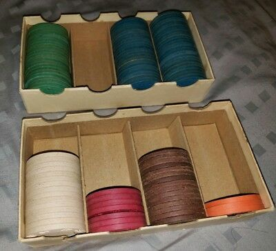 Vintage Clay Poker Chips QTY. 110 Red White Blue Green Orange Brown Embossed HCM