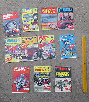 Original lot  10 c 1950s 1960s Hot Rod Mag Tech & Custom Library Spotlite Books