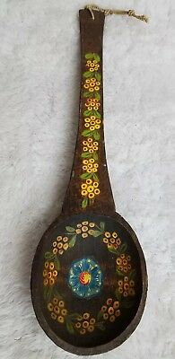 Large Hand Carved Hand Painted Wood Spoon Wall Decor